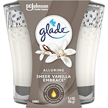Glade Candle Jar, Air Freshener, Sheer Vanilla Embrace, 3.4 Oz