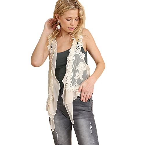 3c3ebd54e00 Umgee Women s Boho Style Lace Ruffle Crop Vest Beige