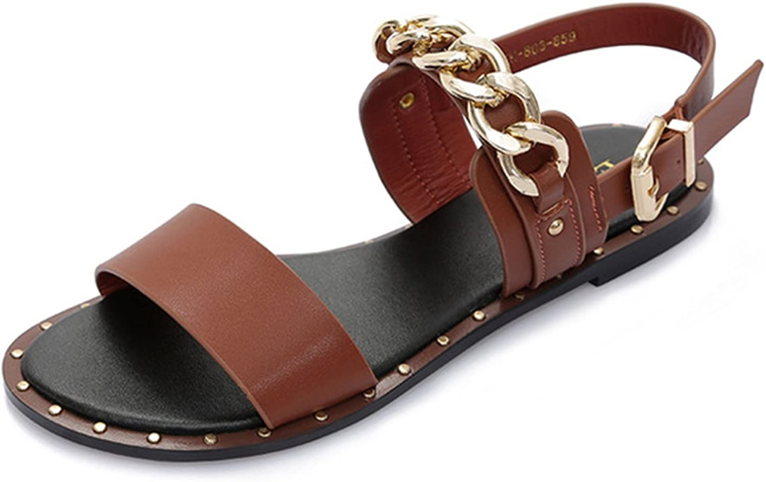 Mageed Fashion Leather Sandals Women Summer Dress with Metal Chain Beach shoes Flat Sandals