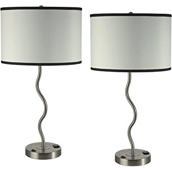 28 5 H 2 Pack Elegant Wavy Brush Steel Table Lamp With Red Linen Shade 6224t Rd 1 Amazon Com