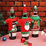 BJ-SHOP Bolsas de Botellas de Vino de Navidad, Regalo Navidad Botella de Vino Bolsas 3 Piezas para Decoraciones Navideñas Suéter Decoraciones para Fiestas Navidad
