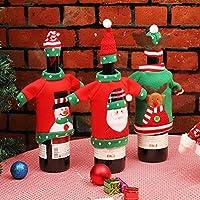 Materiale: qualità di flanella e tessuti non tessuti. DIMENSIONE: vestiti di circa 18 * 12 cm. Adatto a una bottiglia di vino di dimensioni standard. Borse per la copertura della bottiglia di vino di Natale di Babbo Natale, buoni regali per i tuoi am...