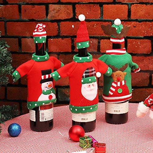 Sacchetti Della Copertura Della Bottiglia di Vino di Natale, Natale Vino Sacchetti Borse 3 Pezzi per Decorazioni Natalizie Maglione Decorazioni per Feste Regali di Natale