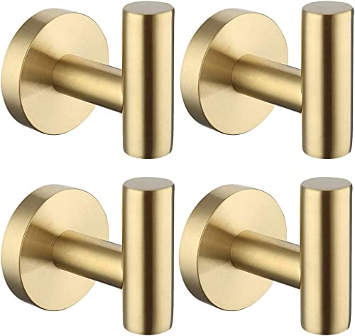KES Wall Towel Robe Hook No Drill for Bathroom Kitchen Hanging Key Hat Coat Hooks SUS304 Stainless Steel Brushed Bras...