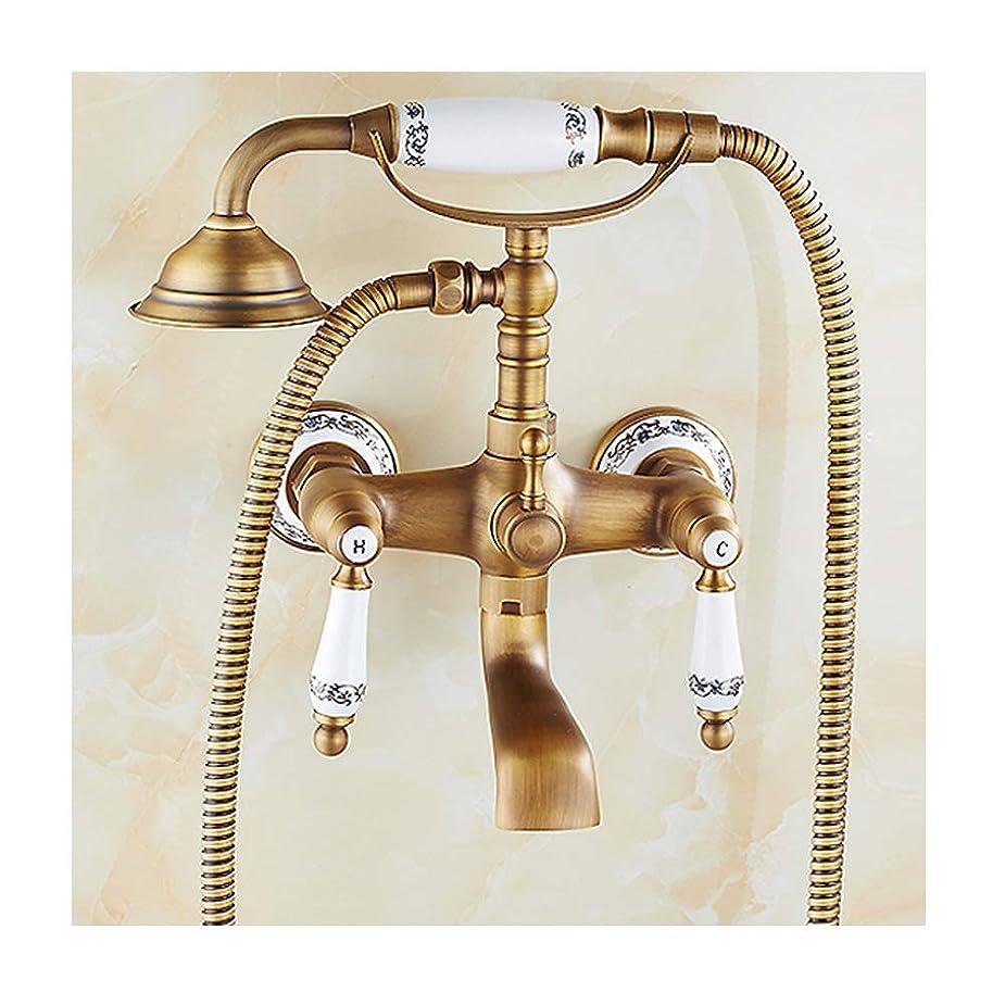 文房具慢な折冷水と温水が付いているレトロな真鍮の浴槽の蛇口壁に取り付けられた浴槽のシャワーの蛇口回転式の浴槽の口、手持ち型のシャワーが付いている二重ハンドルの浴槽の蛇口セット