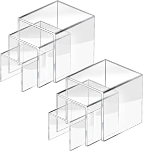 CECOLIC Clear Acrylic Riser Display Stand, Acrylic Display Riser Stand Shelf for Pops Figures, Amiibo, Jewelry, Candy, Cupcake, Dessert, 2 Sets - 3x4x5in