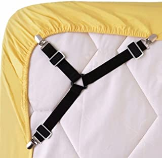 Hold Your Sheet!!!4PCS Bed Sheet Holder Straps Adjustable Triangle Sheet Straps Suspenders Fastener Grippers Corner Holder for King Queen Twin Size,Mattress Covers, Sofa Cushion BY Littlegrass