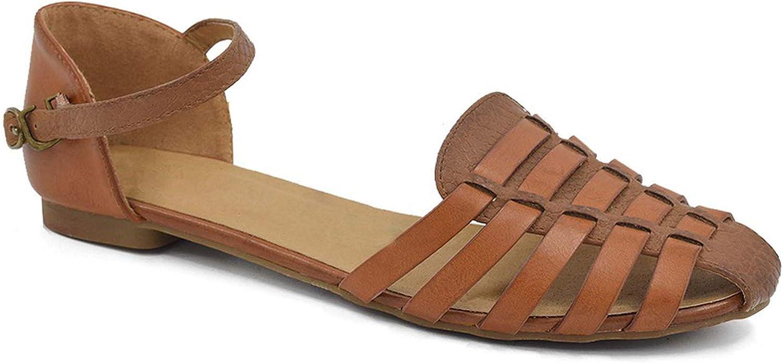Jamais-Vu Women Slingback Flat Sandals Rome Summer Gladiator Sandals with Ankle Strap