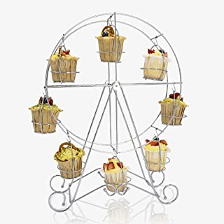Ferrisland Cupcake Stand Ferris Wheel Shape European Style Dessert Serving Tray 8 Count Muffins Display Stands Cakes Holder for Carnival and Circus Theme Party
