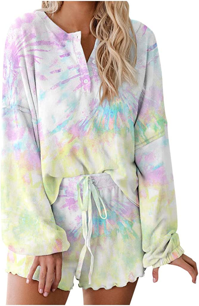 FABIURT Pajamas Sets for Women Tie Dye Long Sleeve Loungewear Set Pajamas Set Sleepwear Lounge Nightwear with Pockets