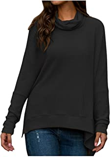 DHGCX Womens Comfy Soft Tops Daily Loose Button Knit Tunic Irregular Blouse Long Sleeve Plain Shirts