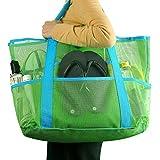 CHIC Diary Unisexe Sac de Plage en Filet Grande Taille Femme Homme Portable Cabas Sac de Rangement Pliable l'eau et Le Sable s'évacuent(Vert)