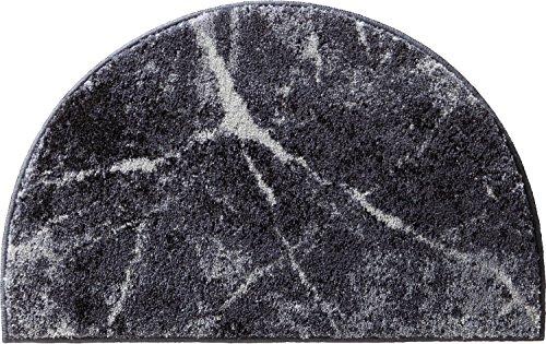 Erwin Müller Duschvorlage, Duschmatte, Dusschvorleger rutschhemmend Marmor grau Größe halbrund 50x80 cm - sehr saugfähig, schnelltrocknend, für Fußbodenheizung geeignet
