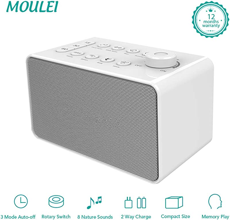 White Noise Machine Sleep Sound Machine With 8 Soothing Nature Sounds Plug In Or Battery Powered Portable Sleep Sound Therapy With Auto Off Timer For Home Office Or Travel