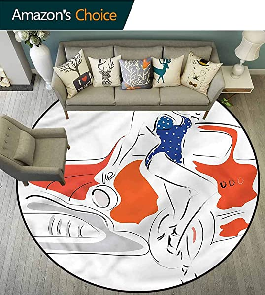 RUGSMAT Modern Modern Machine Washable Round Bath Mat Woman Sketch In Polka Area Rug Perfect For Any Place Diameter 24