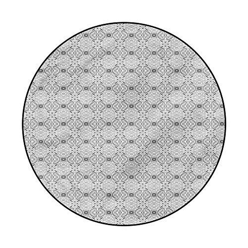 Damask Non-Slip Round Area Rug for Laundry Room Decor Geometrical Swirls Dots 4'