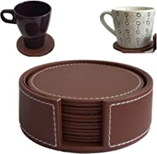 XICHEN Leather Coasters - Upscale with Coaster Holder Sleek -6 Piece Set with Holder (Brown)
