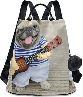 Dog Guitar Cartoon Cute Women`s Computer Backpack College School Shoulders Bag Waterproof Travel 12.9 Inch Laptop Backpack with Grey Wool Ball Key Chain
