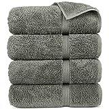 Premium Turkish Cotton 4-Piece Bath Towels for Bathroom, Gray