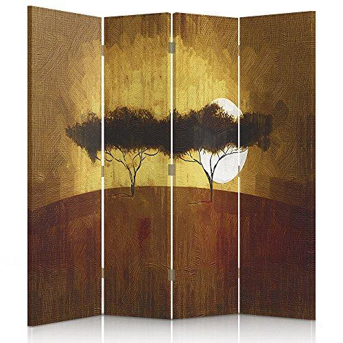 Feeby Frames. Raumteiler, Ggedruckten aufCanvas, Leinwand Wandschirme, dekorative Trennwand, Paravent einseitig, 4 teilig (145x150 cm), Afrika, Aussicht, SAVANNE, BÄUME, Sonnenaufgang, GELB, BRAUN,