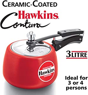 Hawkins Ceramic CTR 30 Coated Contura Pressure Cooker, 3 L, Red
