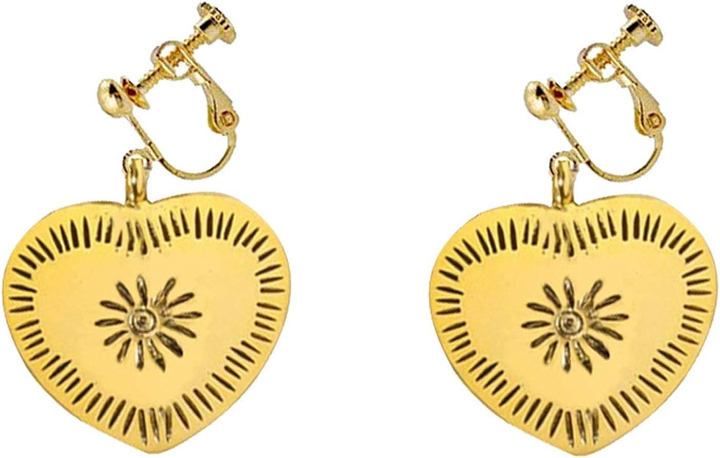 Vintage Statement Clip on Earrings for Women Girls Dangle Drop Love Heart Earrings Simple Non Pierced