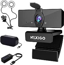 1080P Webcam Kits, NexiGo FHD USB Web Camera with Privacy Cover, 3.5 Inch Dual Selfie Ring Light, USB Speaker, 4-Port USB ...