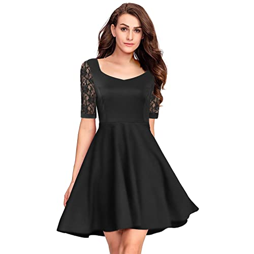 41338af0ef3 Pinup Fashion Women s Casual Lace Half Sleeves Dress Work Cocktail Party  Swing Dresses