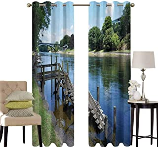 hengshu Outdoor Blackout Curtains for Bedroom Waikato River Hamilton City New Zealand Holiday Destination Travel Landmark Thermal Insulated Soundproof Curtain W52 x L36 Inch Green Blue Grey