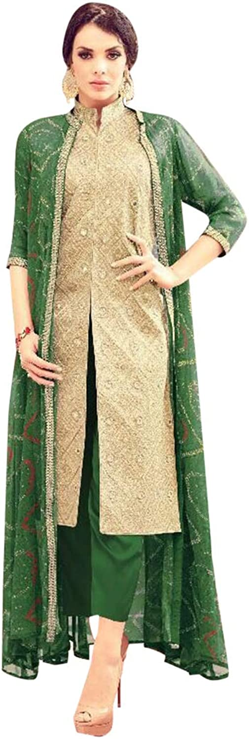 Designer Collection Hit Jacket Style Long Collar Salwar Kameez Suit Party Wear 7356
