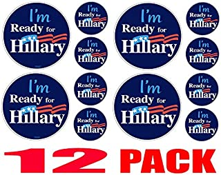 Bumper Planet - Bumper Sticker - I'm Ready for Hillary - Round, 12 Pack - 4-4 inch, 8-2 inch