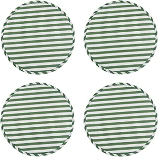 4 Pack Round Non Slip Cushions Seat Kitchen & Dining Office High Stool Chair Pads Sponge Firm Seat Bar Pad with Ties 13 Inch Green Stripe