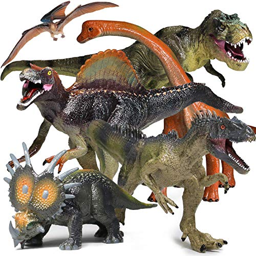 YOOUSOO 6 PCS Jumbo Dinosaur Set -Realistic Looking Dinosaur Figures Realistic Dinosaur Model for Dinosaur Lovers-Kids Perfect Holiday Party Gifts-Dinosaur Toy Boys,Girls ,Children's Birthday Favors