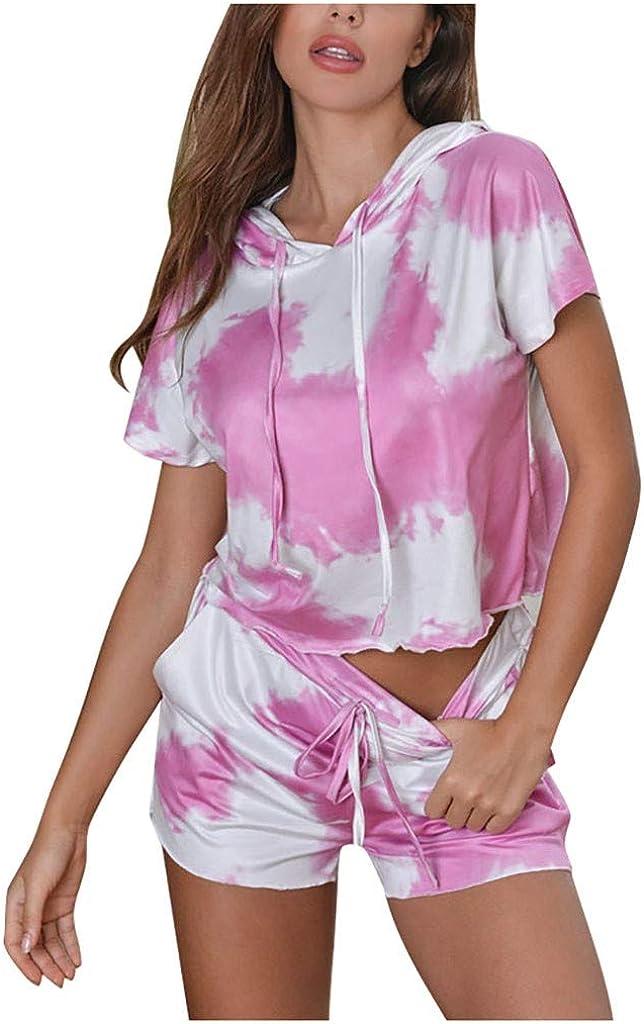 Loungewear for Women Tie Dye,Womens Short Sleeve Sof 2 Piece Short Pajamas Set Nightwear Sleepwear Loungewear