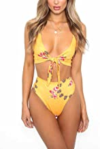Lucky2Buy Womens Sexy High Waisted Floral Bikini Sets Two Pieces Bathing Swimsuit Beachwear with Tie Knot