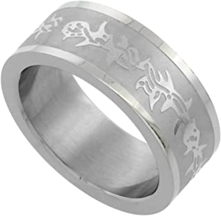 Surgical Steel 8mm Wedding Band Ring Barbed Wire Design, Sizes 7-14