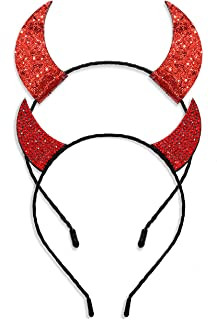 Halloween Devil Horns Headband for Women Gilrs Festive Head Band for Party Cosplay (2PC Headband A)
