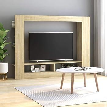 UnfadeMemory Mueble para TV Moderno,Soporte del Televisor,Mueble de Hogar, con Estantes Laterales,Madera Aglomerada,152x22x113cm (Roble Sonoma): Amazon.es: Hogar