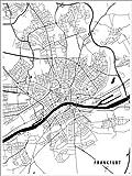 Poster 30 x 40 cm: Frankfurt Deutschland Karte von Main
