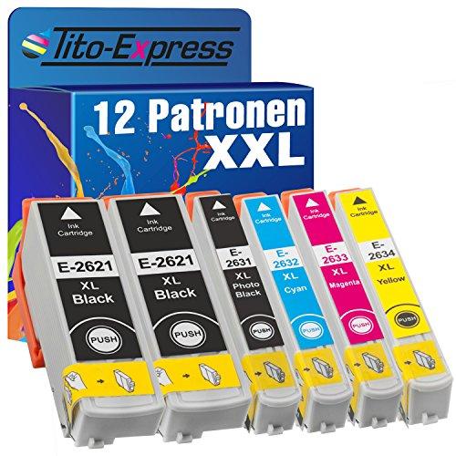 Tito-Express Platinum Serie 12 Cartuchos de Tinta XXL compatibles con Epson T2621 T2631 T2632 T2633 T2634 26XL | para Expression Premium XP 510 520 600 605 610 615 620 625 700 710 720 800 810 820