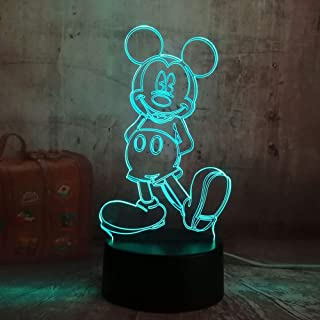 Luz Nocturna/Cartoon Cute Mickey Mouse 3D Led Night Light Illusion Novedad Mesa de Escritorio