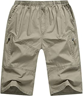 f9a98a163c Zanlice Men's Casual Elastic Waist Capri Pants Cotton Cargo Shorts M-XXXL
