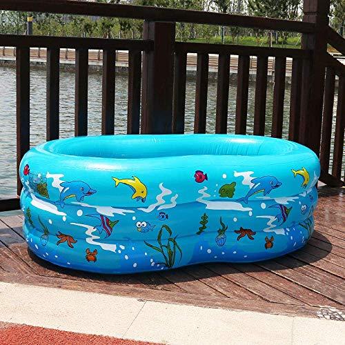 CHHD Aufblasbare Pools Rechteckiges Familienkind aufblasbares Schwimmbad Kinder Familie Dreiring kreisförmiger Baby-Cartoon 130 * 90 * 50 blau, aufblasbare elektrische Pumpe senden