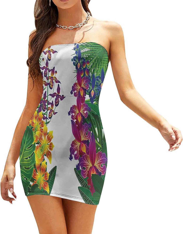 Women's Summer Strapless Dresses Feng Shui Theme Tree Branches Dresses