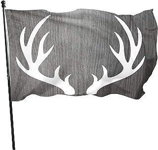 Dem Boswell Bandera de jardín Madera Gris con astas de Alce Bandera Exterior Resistente a la decoloración Duradera Banderas Decorativas Festivas y estacionales 150 X 90 cm