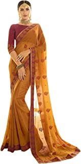 Indian Ethnic Gorgeous Colour Combination Saree With Blouse Sari Hit Party Wear Collection 7370