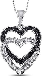 10kt White Gold Womens Round Black Color Enhanced Diamond Double Heart Pendant 1/10 ctw