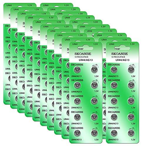 SKOANBE 200PCS LR44 AG13 L1154C 303 357 D357H 1.5 Volt Button Coin Cell Batteries