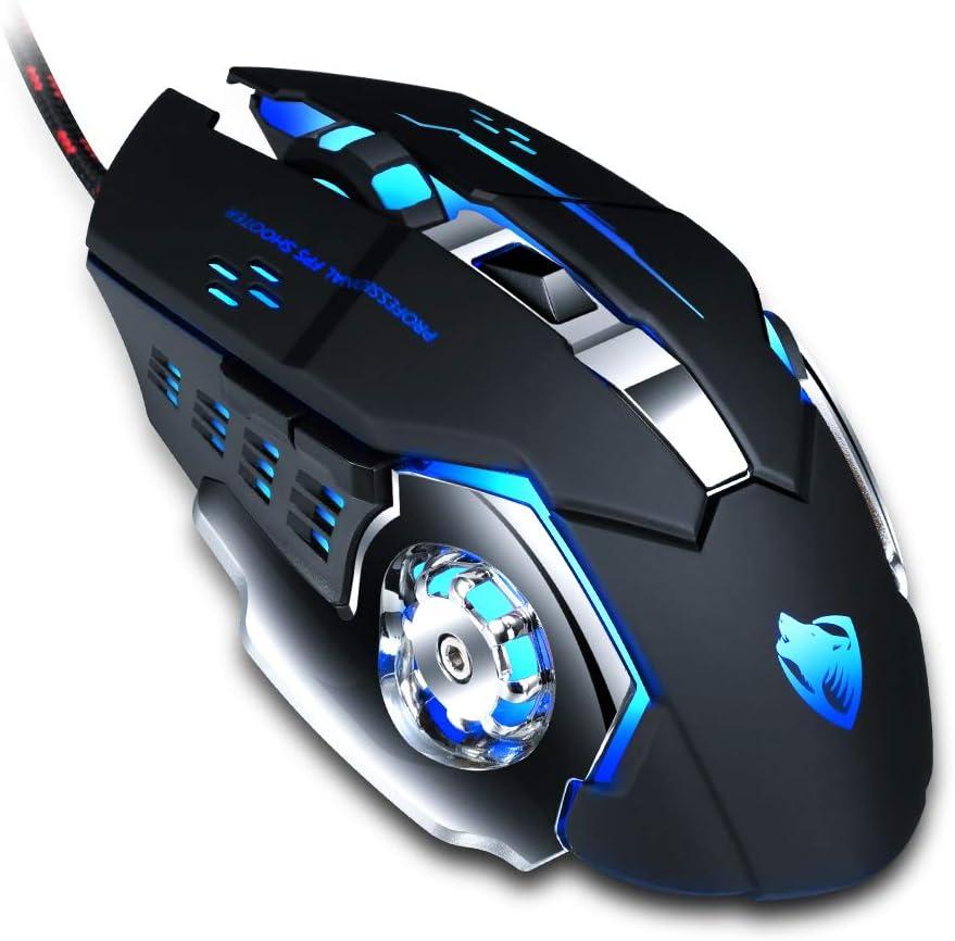 Ratón Gaming,Mouse Gaming 6 Botones programables con Cable y Botones Laterales, retroiluminación LED y Modos de 4 dpi, Ratones para Juegos de PC USB, para computadora portátil / computadora / Mac