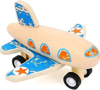 Small Foot 11146 blått flygplan fordon tillverkat av FSC 100 % certifierat trä, gummihjul för bästa grepp när du drar till...